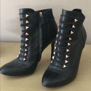 Bcbgmaxazria black leather rose gold boots 8.5